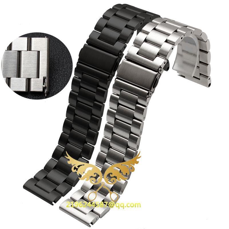 Nouveau mode 20mm 22mm 23mm 24mm 25mm 26mm acier inoxydable solide lien Bracelet de montre Bracelet fin droite noir argent