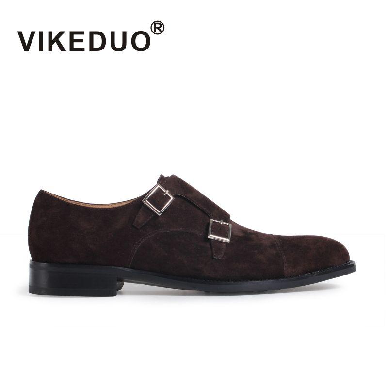 Vikeduo 2019 précipité à la main en cuir véritable boucle de mode affaires bureau fête de mariage réel Original Designer hommes moine chaussure