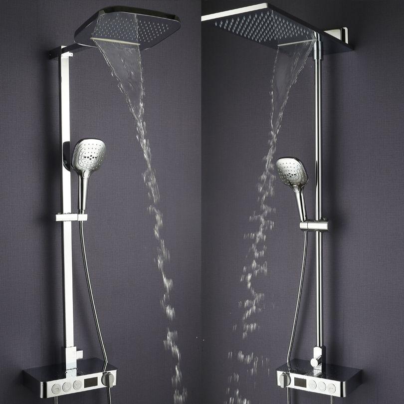 Bathroom Rain Shower Set Thermostat Faucet Mixer Tap Chrome Brass Waterfall Bath Shower Head Digital Shower Panel System