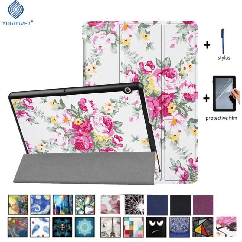 YNMIWEI Cas Pour Huawei MediaPad T3 10 Tablet Stand Mince Cas Pour T3 9.6 pouce Honor Lecture Pad 2 Couverture AGS-L09 AGS-L03 W09 + film