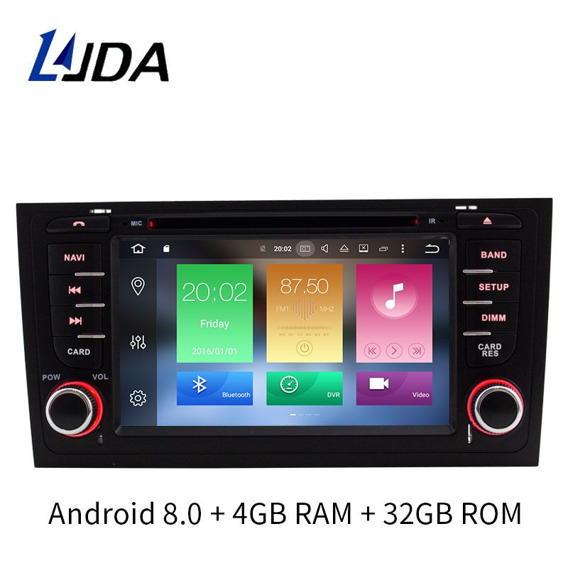 LJDA 7 Inch 2 Din Auto Radio Android 8.0 Car DVD player For AUDI A6 S6 RS6 GPS Navigation Multimedia WIFI Audio Stereo Bluetooth