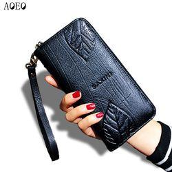 AOEO дамы бумажник с тиснением женский с натуральной кожи браслет карты и Id сумка для денег кошелек для женщин кошельки и кошельки