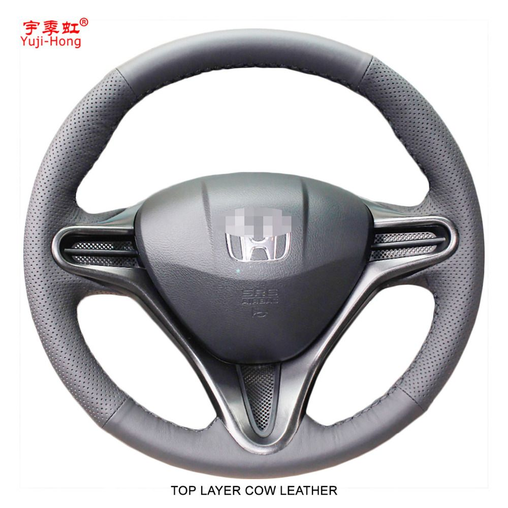 Yuji-Hong Top Layer Genuine Cow Leather Car Steering Wheel Covers Case for HONDA Civic 8 2007-2011 Auto Steering Cover Black