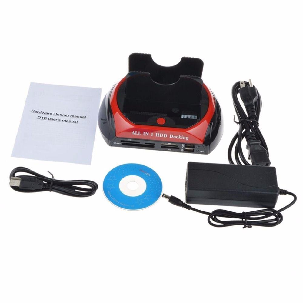 Multifonctionnel HDD Station D'accueil Double USB 2.0 2.5/3.5 Pouce IDE SATA Boîte DISQUE DUR Externe Disque Dur Boîtier de Disque Carte lecteur