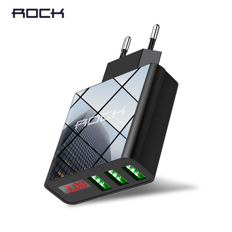 ROCK 3A LED Display EU 3 USB Charger Universal Mobile Phone USB Charger Fast Charging Wall Charger For iPhone Samsung Xiaomi