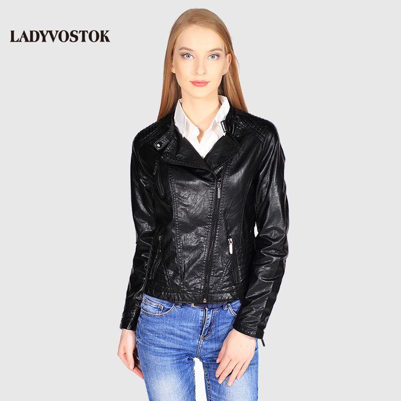 Ladyvostok autumn new fashion Black female jacket leather short jacket PU biker jacket coat zipper lady leather jacket J7802