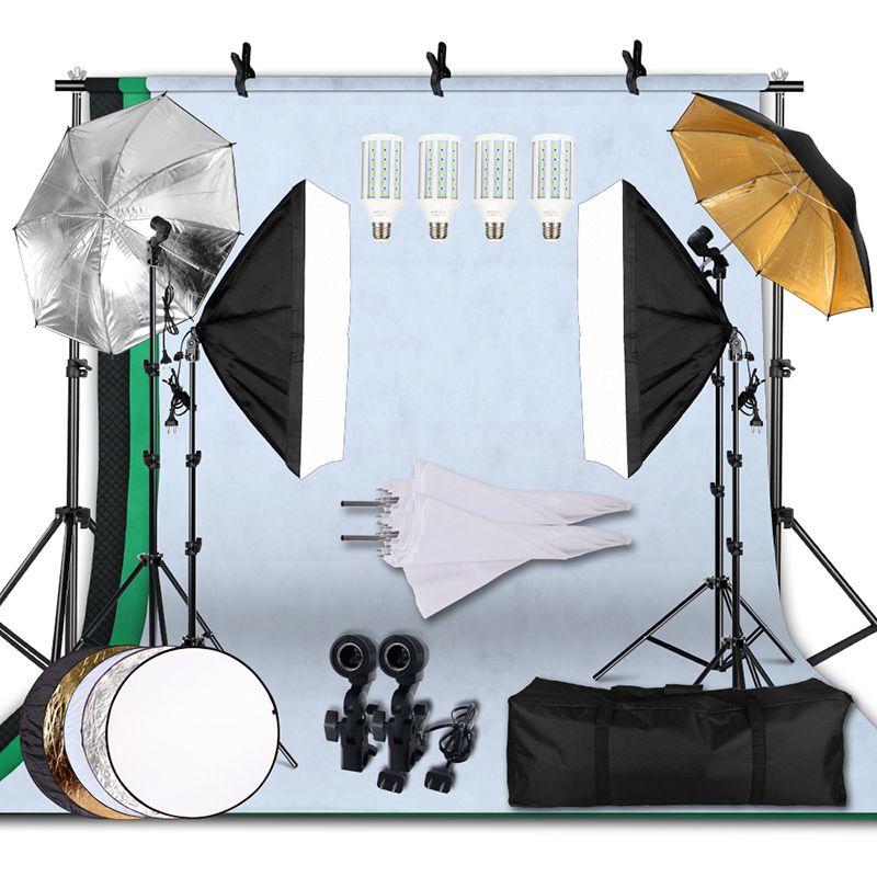 20W 5500K Schirme Softbox Kontinuierliche Beleuchtung Kit mit Hintergrund Unterstützung System für Foto Studio Produkt Schießen Fotografie