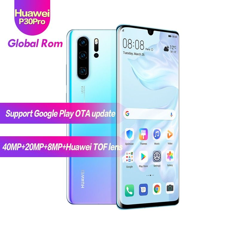 Globale ROM HUAWEI P30 Pro 8GB 512GB Full Screen Handy NFC Smartphone Octa Core Android Bar FHD + Kirin 980 5 Kameras