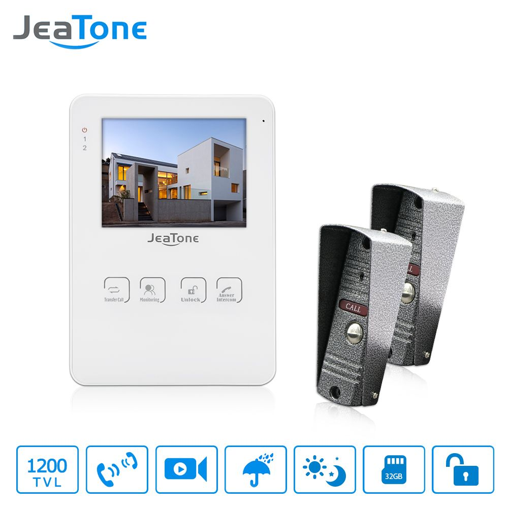 JeaTone 4 Inch Video Doorbell Door Phone Intercom System Monitor Unlocking Electronic Lock Video Recording Photo Taking 1200TVL