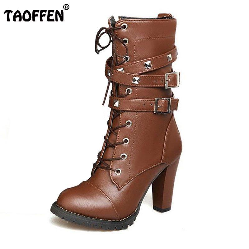TAOFFEN Dames chaussures Femmes bottes talons hauts Plate-Forme Boucle À Glissière Rivets Sapatos femininos lacent des bottes En Cuir Taille 34-43