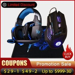 Profesional 3200 Dpi 7 Tombol 7D LED USB Wired Gaming Mouse Mouse + Over-Telinga Gamer Headphone Headset Earphone dengan MIC Stereo Bass