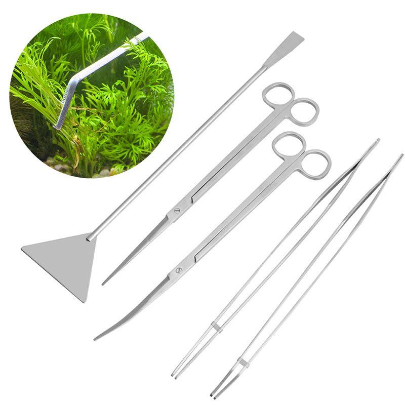 3/5 pièces Kit d'outils d'entretien Aquarium pince à épiler ciseaux pour plantes vivantes herbe-Y102