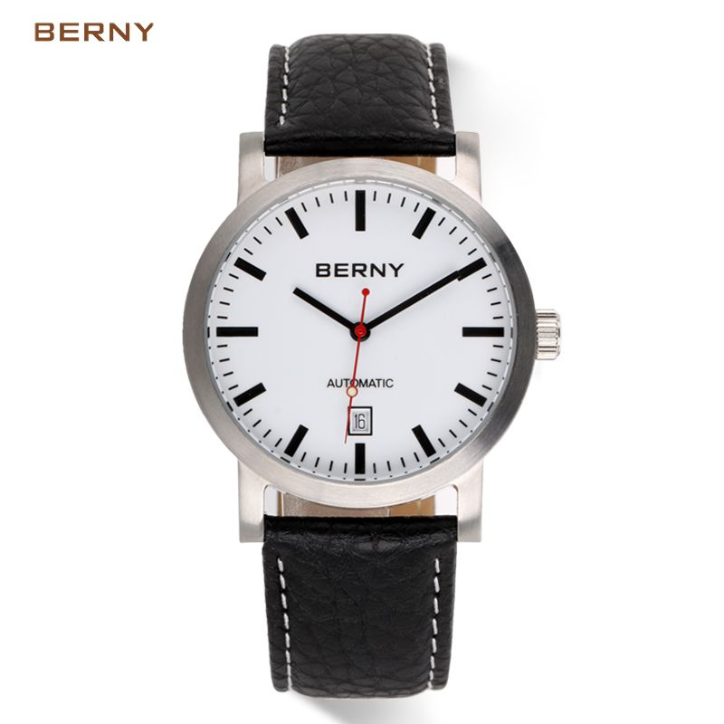 BERNY Brand Automatic Mechanical Watches Men Waterproof Sports Auto Date Leather Watch Men Automatic Mechanical Watches AM7068