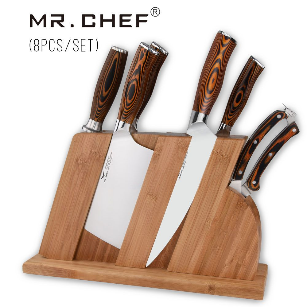 8pcs/set Professional Chef Knives Quality Kitchen Cooking Cutlery German Steel X50 Chopping+Cleaver+Knife Stand Pakkawood Handle