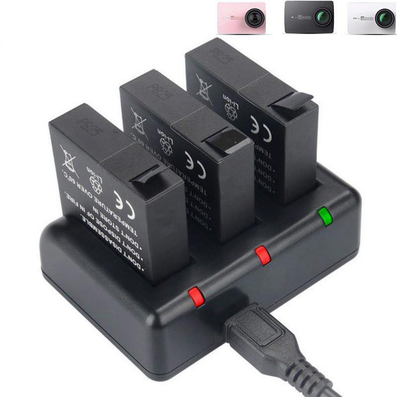D'origine Kingma pour Xiaomi yi 4 k Batterie 3 pièces et 3-Canal USB chargeur pour Xiaomi YI 2 4 K YI 4 K PLUS Yi Lite caméra d'action