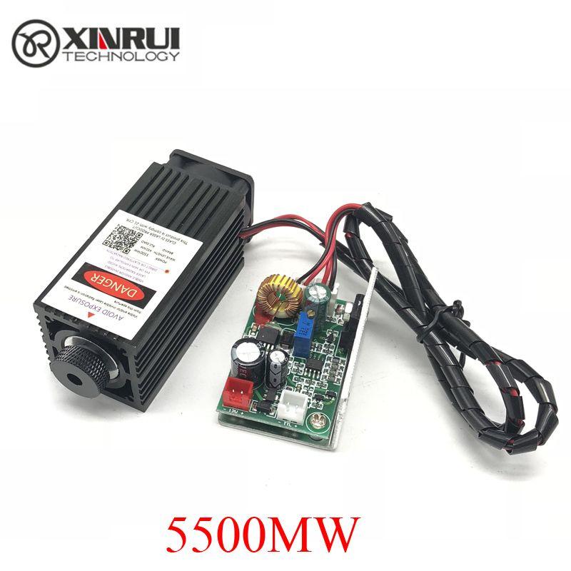 5.5 w haute puissance 445NM mise au point module laser bleu gravure laser et découpe module TTL 5500 mw tube laser + lunettes