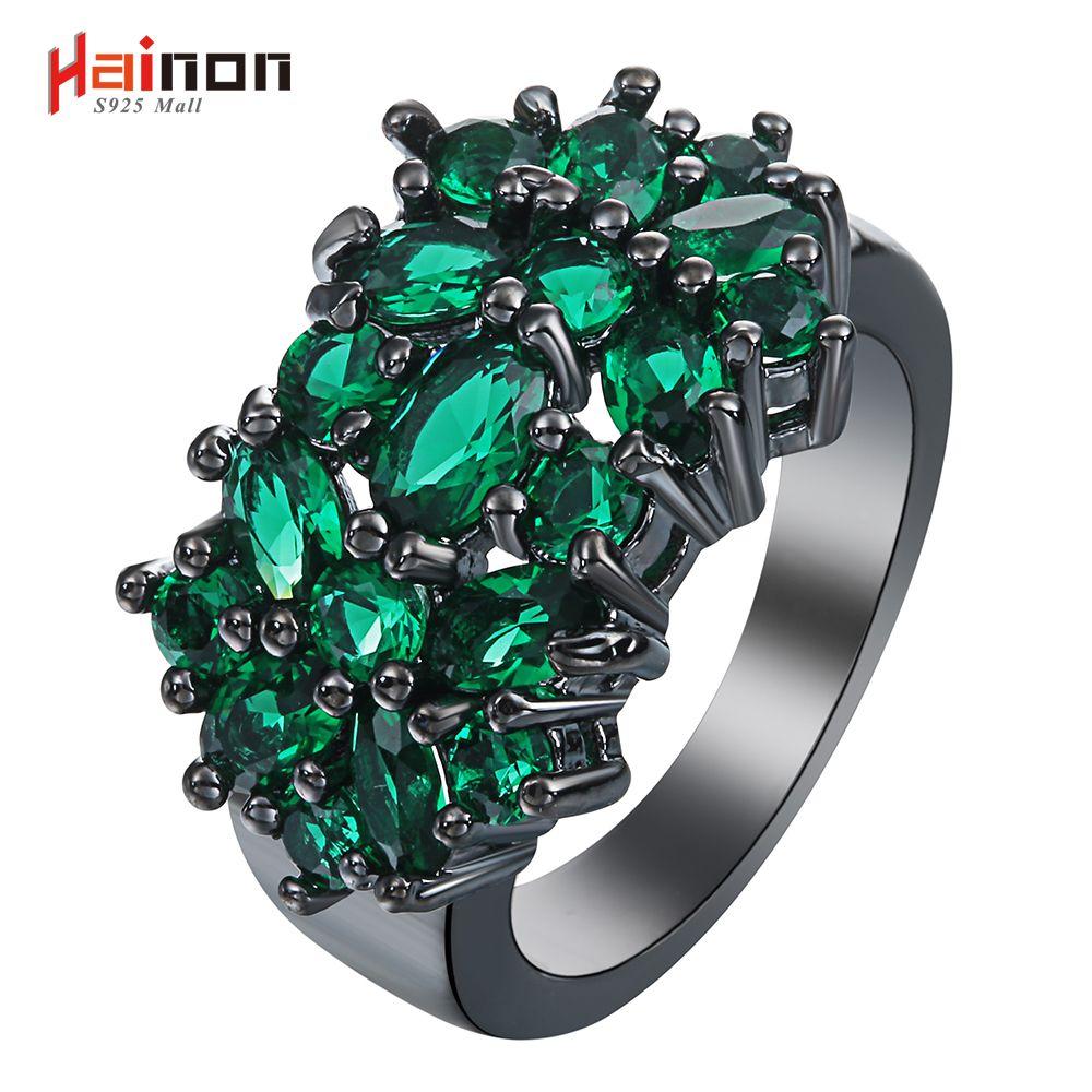 Новый цветок черный кольца для женщин модные украшения подарок элегантный принцесса зеленый камень Чешский циркониевый обручальное кольц...