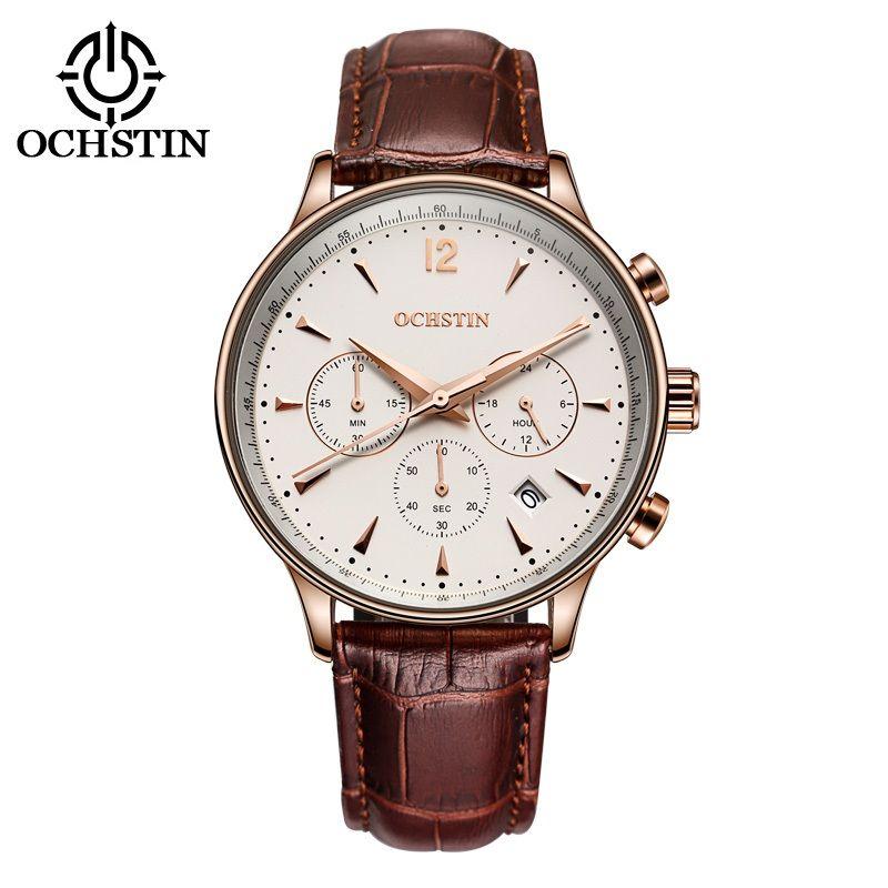 Classic Fashion OCHSTIN Men Watch Top Brand Luxury CHRONOGRAPH Function Date Leather Sport Watch Men Business Quartz WristWatch