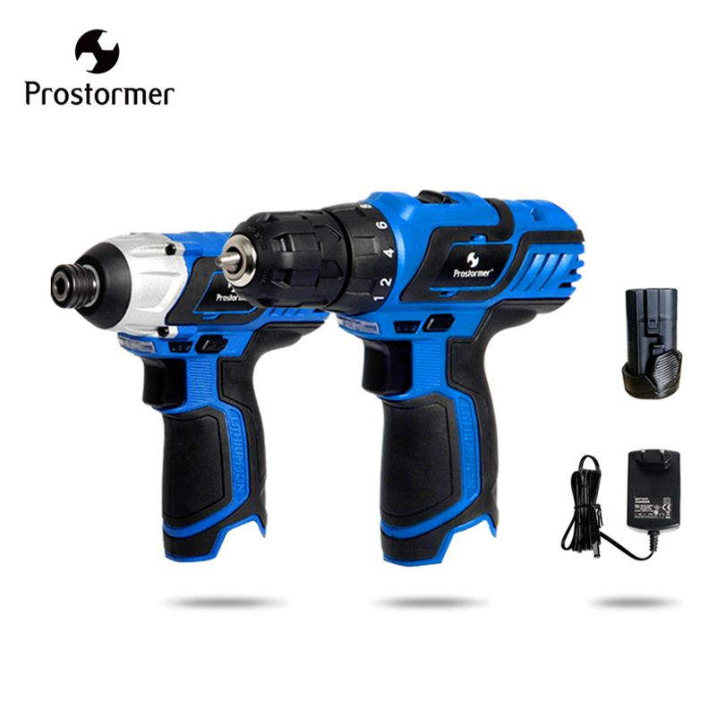 Prostormer 12V Hand Electric drill+cordless screwdriver High quality drill electric Screwdriver Machine Rechargeable Power tools
