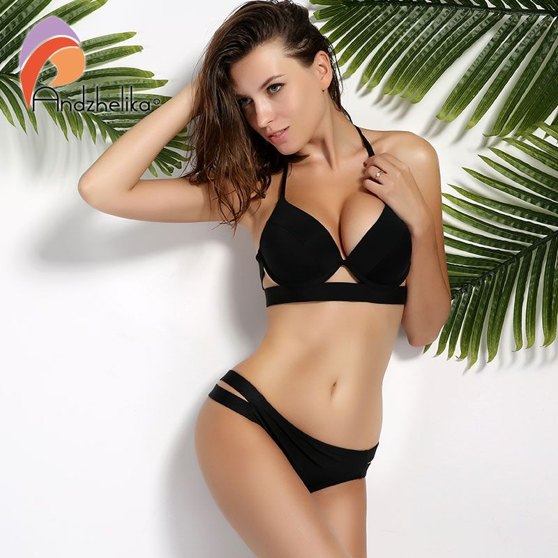 Andzhelika Bikinis Women Black Bandage Swimsuit 2018 Sexy Push Up Swimwear Low Waist Bathing Suit Halter Bikinis Suit <font><b>Swim</b></font>