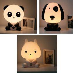 Hot Plug UE Bébé Chambre Lampes Lumière de Nuit de Bande Dessinée Animaux Lapin Panda PVC En Plastique Sommeil Enfant Conduit Lampe Ampoule Veilleuse pour Enfants