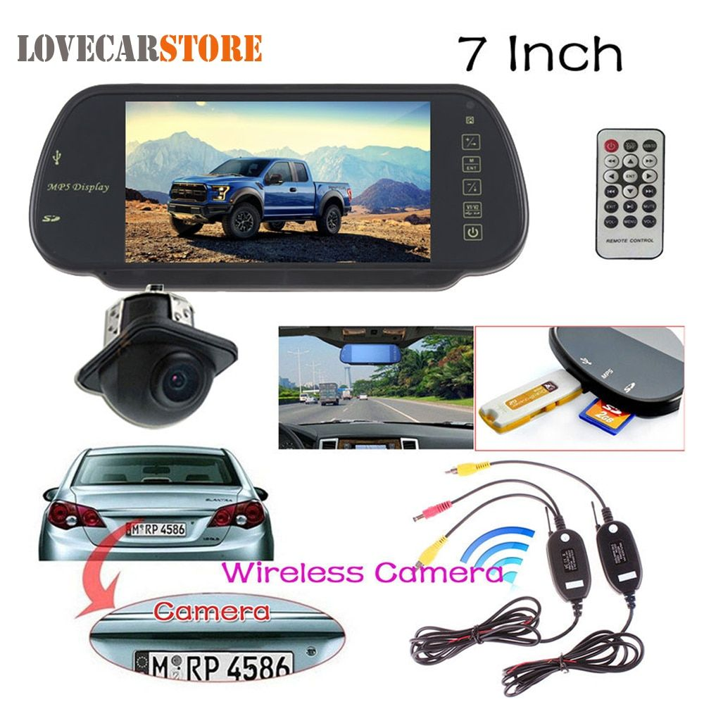 7 Inch TFT LCD Car Rear view Mirror Monitor + Auto Rearview Reverse Backup Parking Camera + Video Transmitter and Receiver Kit