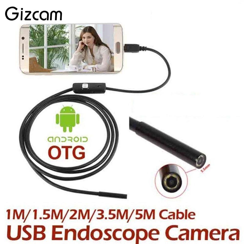 Gizcam Portable 1 M/1.5 M/2 M/3.5 M/5 M 7mm USB Endoscope étanche IP67 Android Endoscope Tube Vidéo Mini Caméra Micro Caméra