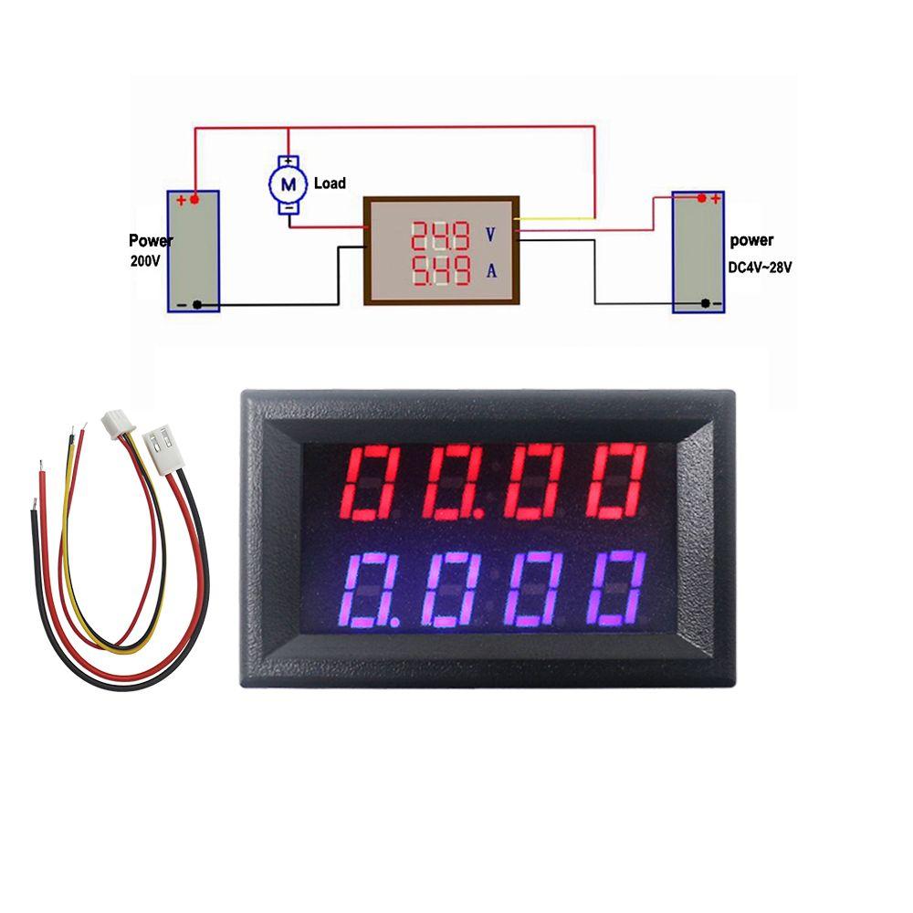 4 Bit Digital Voltmeter Ammeter DC 200V 10A Red Blue LED Dual Display Voltage Amp Panel Meter 12v 24v Car Current Monitor Tester