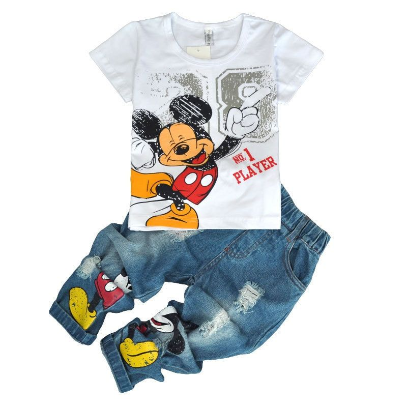 Children's Wear 2018 spring Summer Baby kids Boys Sports casual Suit Mickey boy T-shirt + Hole jeans <font><b>2pcs</b></font> Set Children's Clothes