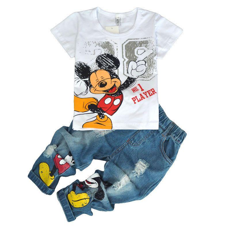 Kinder Tragen 2018 sommer Baby kinder Jungen Sport casual Mickey jungen T-shirt + Loch jeans 2 stücke Set kinder kleidung