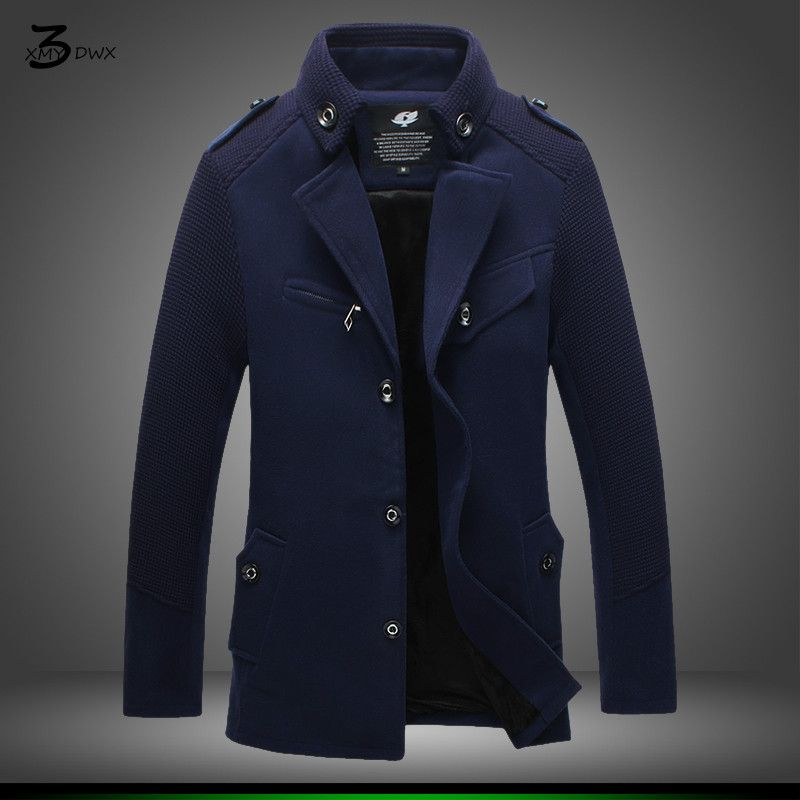 XMY3DWX thickening of fashionable male winter warm long trench coat/Male fashion slim fit leisure coat/Large size S-4XL