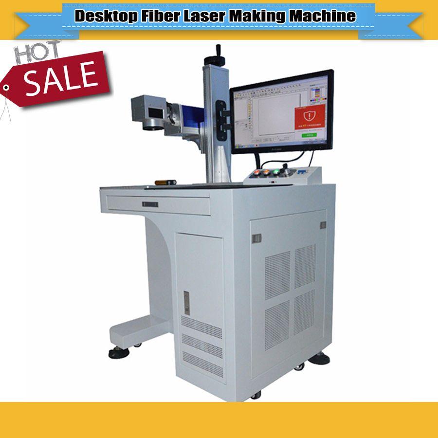 Hohe genauigkeit 20/30 Watt desktop fiber laserbeschriftungsanlage metall-kennzeichnung maschine verwendet für edelstahl, kupfer etc