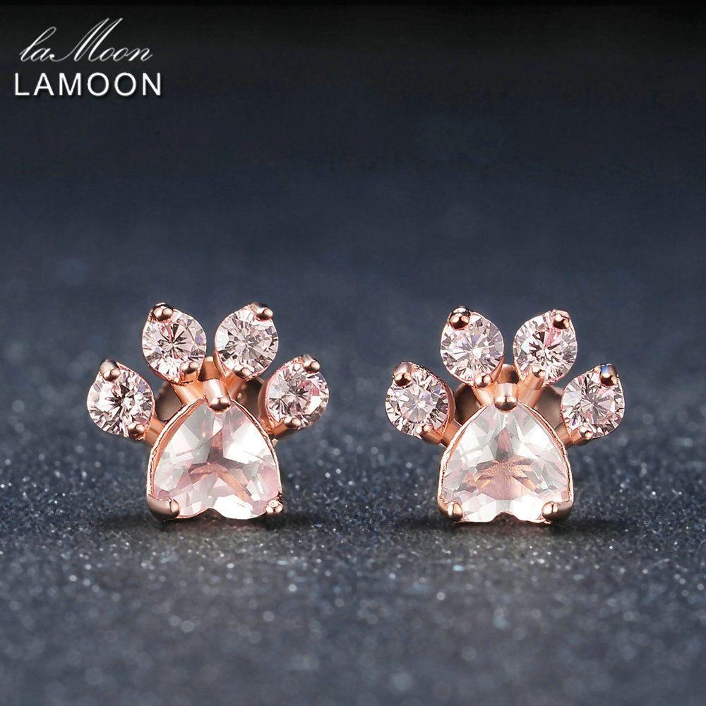 LAMOON Bearfoot 5x5.5mm 100% Pierre Naturelle Rose Quartz 925 sterling-argent-bijoux Rose Plaqué Or Stud S925 LMEI040