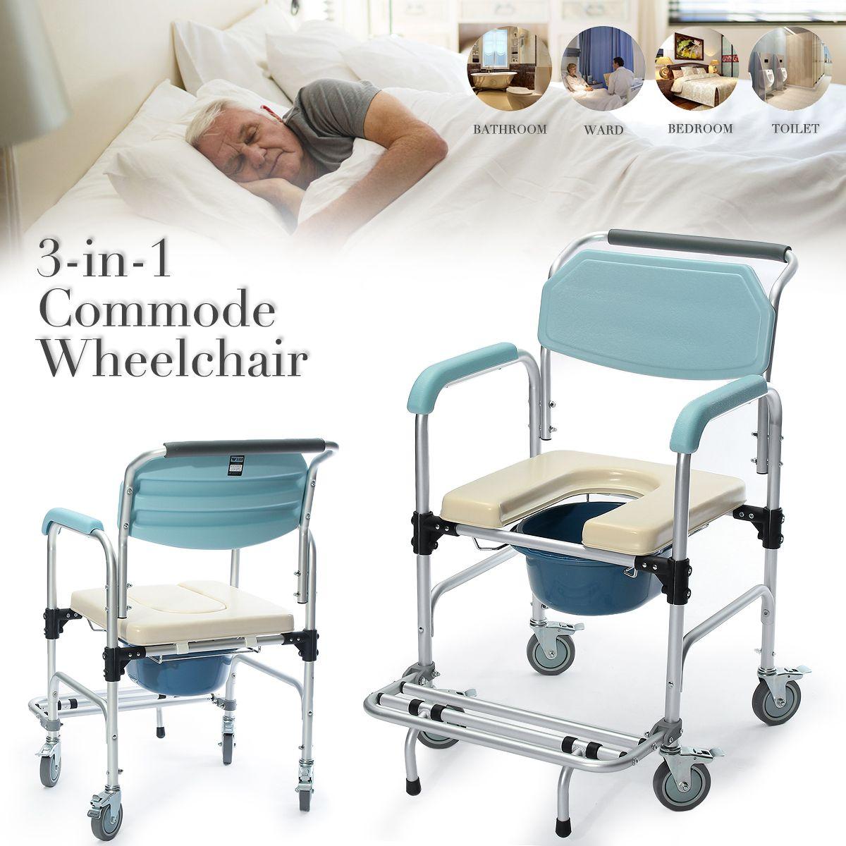 3-in-1 Commode Wheelchair Bedside Toilet & Shower Seat Bathroom Rolling Chair Elder Folding Chair Aluminum Alloy Waterproof