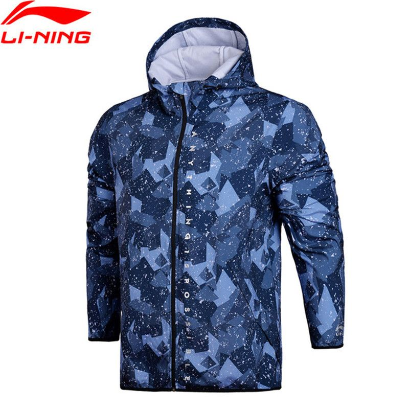 Li Ning 2018 Männer Der Trend Mit Kapuze Windjacke Regelmäßige Fit ZU PROOF SMART Hoodie Schnell Trocknend Wasserdicht Li Ning Sport Mantel AFDN003