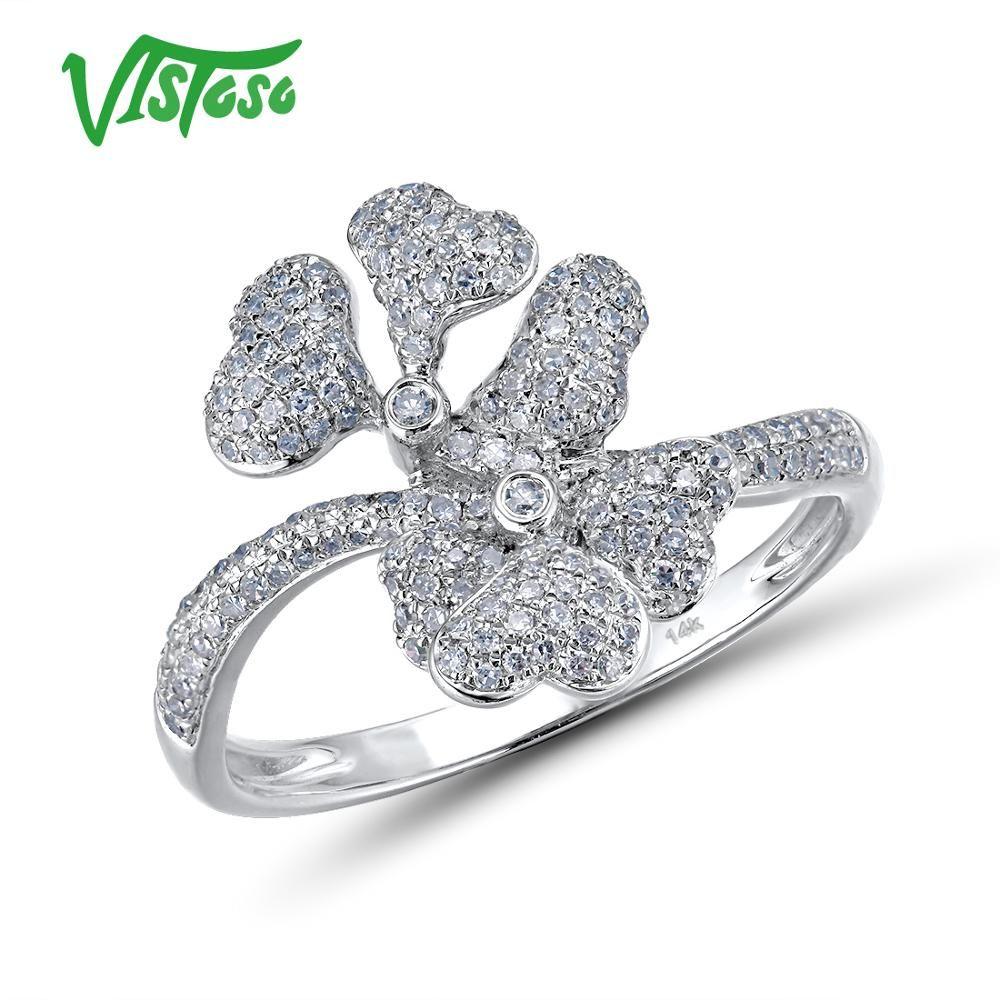 VISTOSO 14K585 Weiß Gold Ringe Für Dame Echtem Blume Ring Funkelnden Diamant Versprechen Engagement Ringe Jahrestag Edlen Schmuck