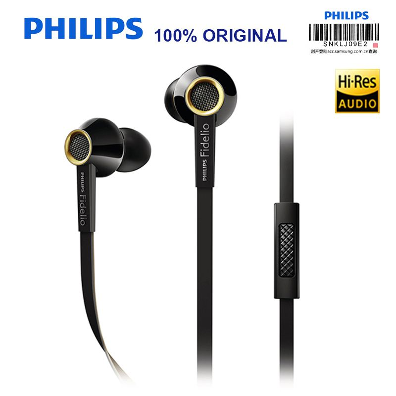 PHILIPS S2 Original HIFI Headsets High Resolution Fever Phone Call Wire Control with Wheat In-ear Earphone Support Official Test