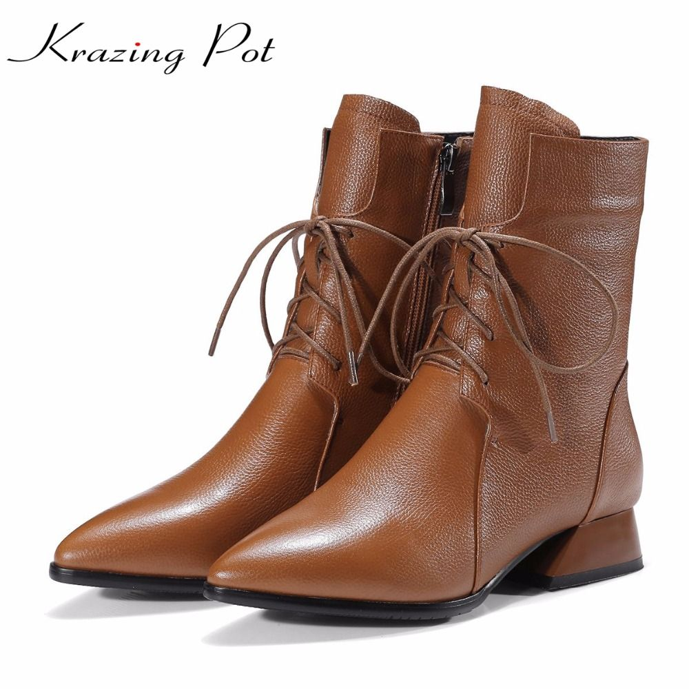 Krazing pot new winter brand shoes lace up boots pointed toe thick med heels genuine leather runway mature style ankle boots L51