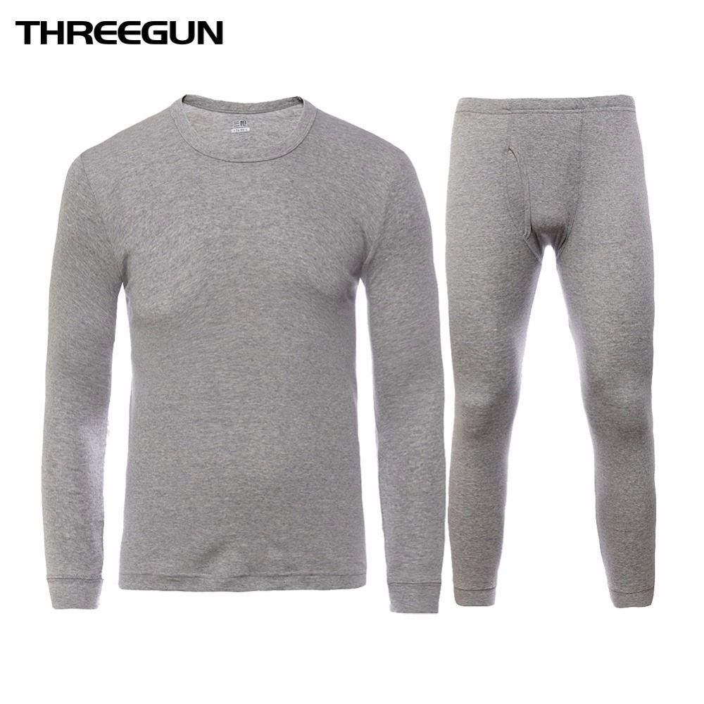 THREEGUN 100% хлопок зима шею теплый длинный Джонс набор для мужчин Ультра-мягкий сплошной цвет Тонкий термобелье Мужская пижамы