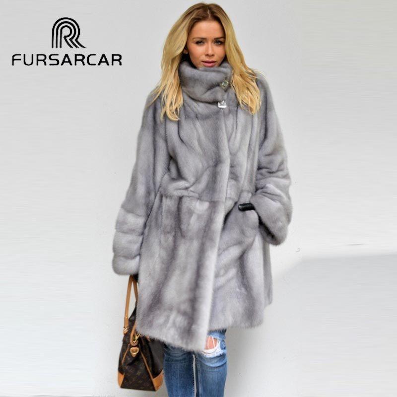 FURSARCAR 2018 Luxus Winter Real Nerz Mantel Frauen 90 cm Länge Echte Nerz Pelz Hohe Qualität Mantel Mit Pelz kragen für Weibliche