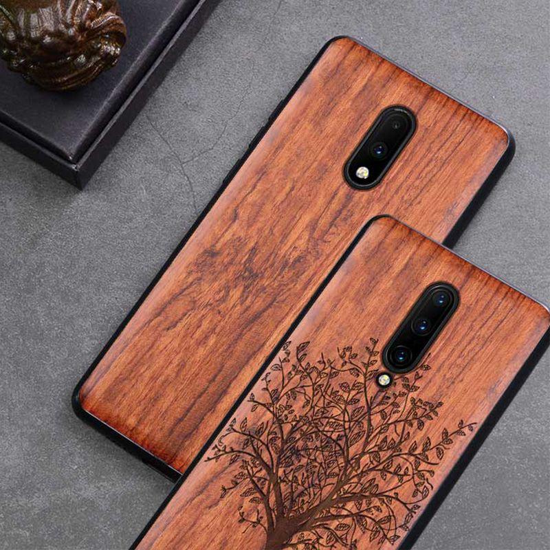 Oneplus 7 pro étui Boogic Original bois véritable funda Oneplus 7 palissandre TPU antichoc coque arrière téléphone coque One plus 7 Pro