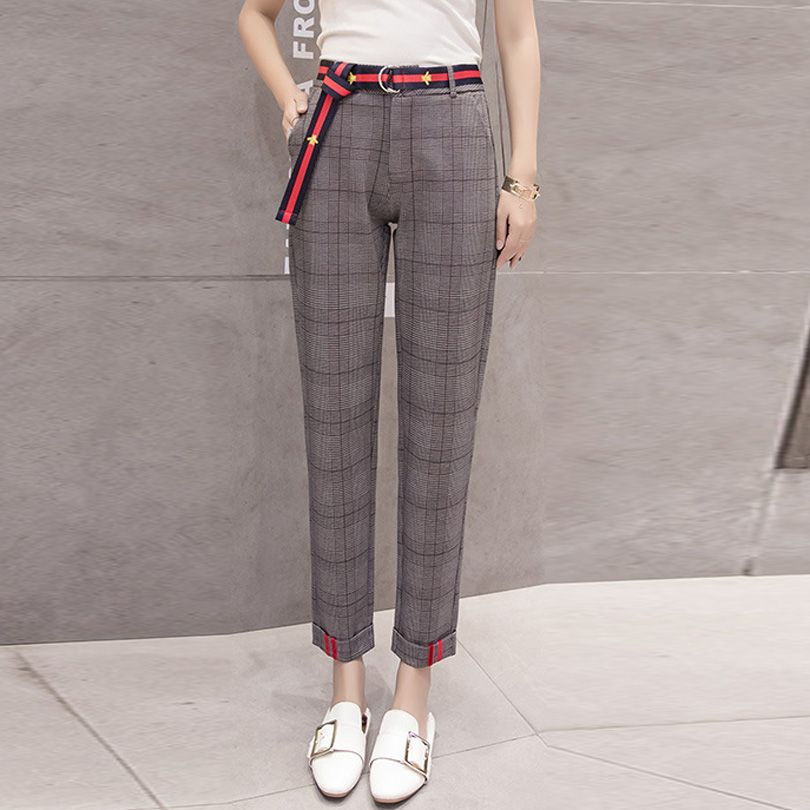 Retro Chic Harem Pants Women High Waist Loose Woolen Plaid Pantyhose Female Carrot Pants Casual Pencil Pants