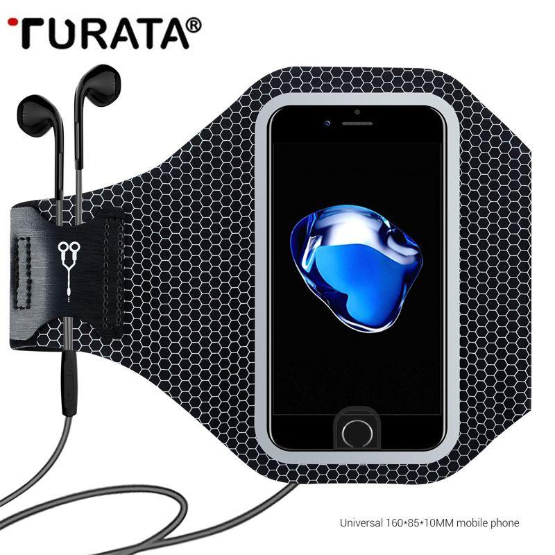 Turata Universal Sport Courir Arm Band Pour iPhone 5 5S SE 6 6 S 7 Plus Réfléchissant Mobile Téléphone Titulaire Poche de Pochette Cas T30