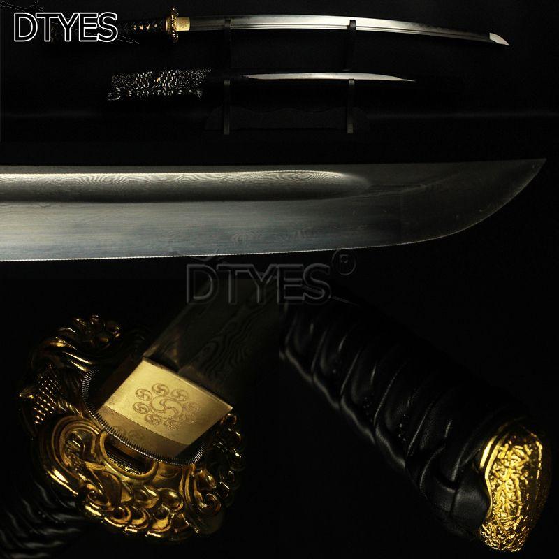Damascus Steel Clay Tempered Obvious Hamon Maru Blade Katana Samurai Japanese Sword Handmade Real Katana Swords Battle Ready