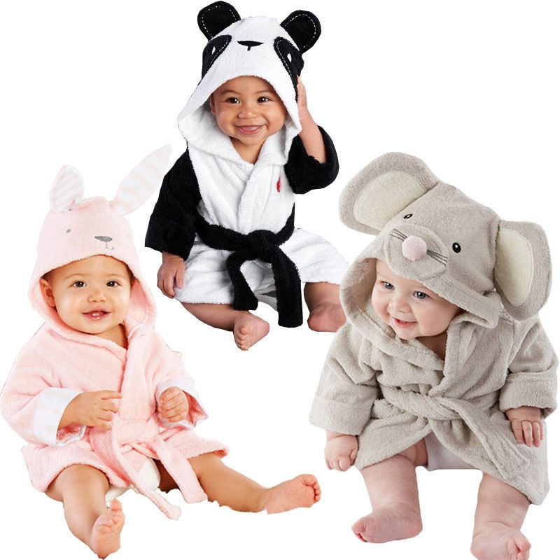 Для малышей для девочек и мальчиков из хлопка с капюшоном Для ванной Полотенца Обёрточная бумага Для ванной Халат милый мультфильм Мышь/Panda/...