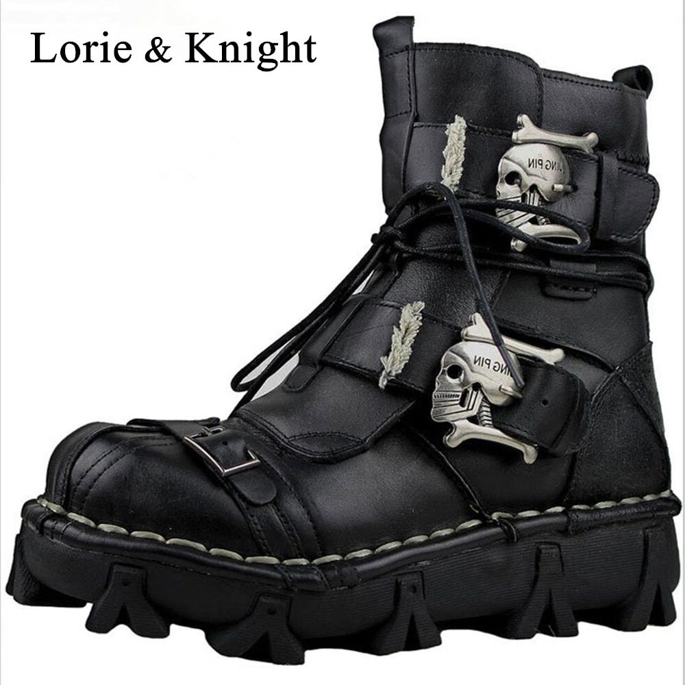 Men's Genuine Leather Skull Gothic Punk Rocker Boots Motorcycle Martin Boots