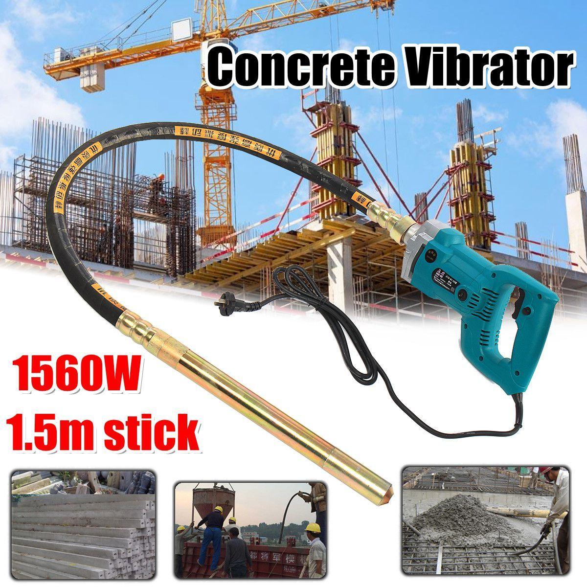 800W/1200W/1560W Concrete Vibrators Electric Cement Soil Mixer with Stick 3/4 HP- Heavy Duty Remove Air Bubbles & Level 5000 VPM