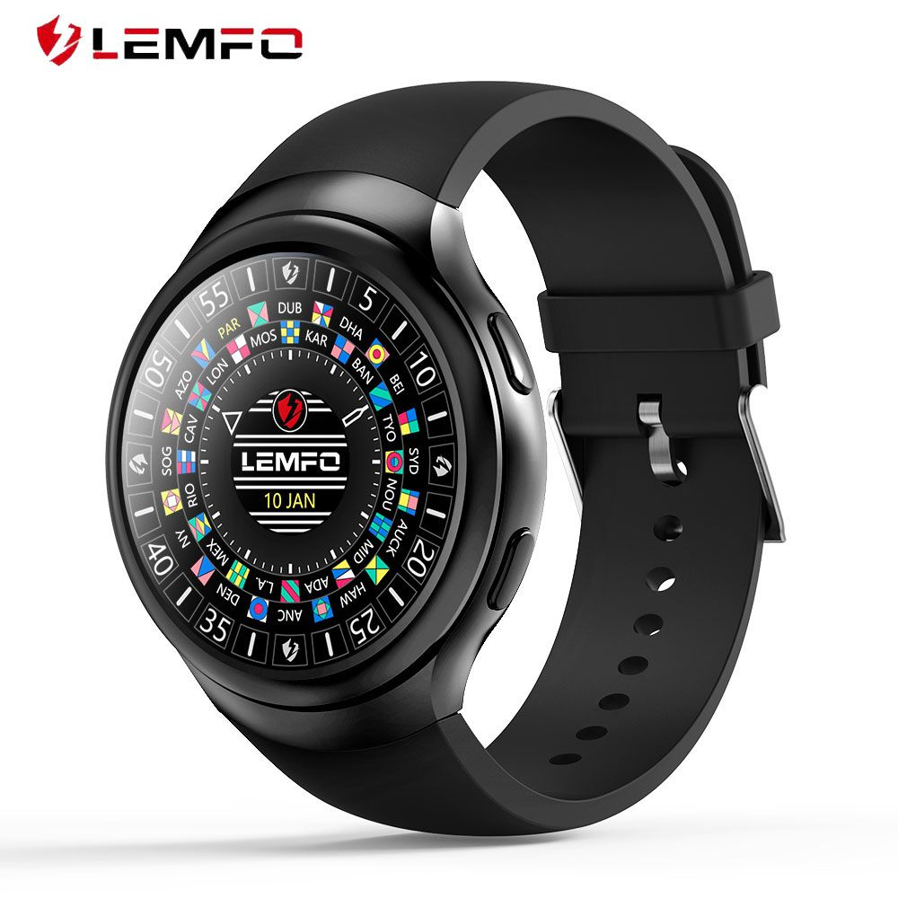 LEMFO LES2 Smart Watches <font><b>Smartwatch</b></font> Android 1GB + 16GB Watch Phone Heart Rate Monitor GPS Wifi Bluetooth Wristwatch