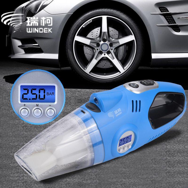 WINDEK 12V Car Auto Electric Air Compressor Tire Inflator Pump Handheld Car Vacuum Cleaner Auto Portable Dust Brush for Car