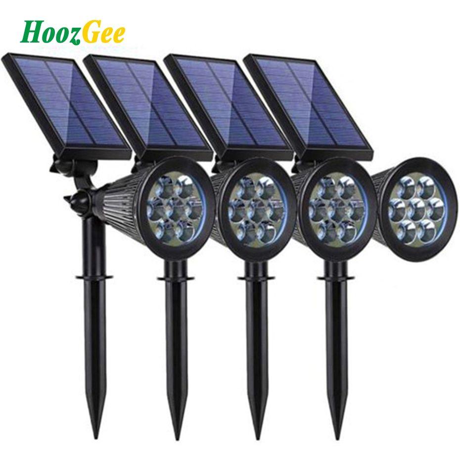HoozGee Solaire Spotlight Lumière Crue Pelouse En Plein Air Jardin 7 LED Réglable 7 Couleur dans 1 Mur Lampe Paysage Lumière pour patio Décor
